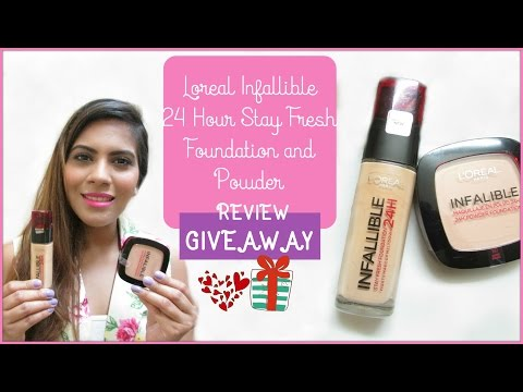 Loreal Infallible 24 Hour Stay Fresh Foundation and Powder Review + Giveaway