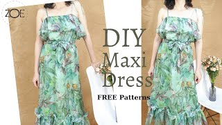 DIY Sewing Maxi Dress FREE Sewing Patterns | Zoe DIY