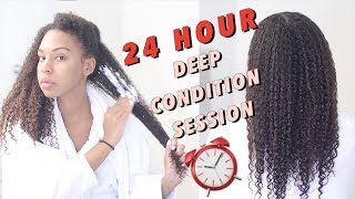 24 HOUR Extreme Deep Conditioning Treatment On Natural Hair! My RESULTS!