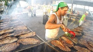 Grilling Team Cook Tons of Ribs and Meat at the Italian Ribs Street Food Festival