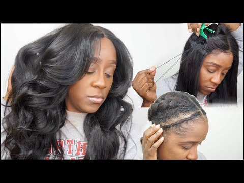 How to sew down a lace closure wig flat + braid pattern no leave out ...