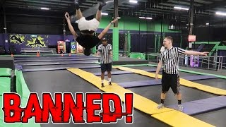 KICKED OUT OF A TRAMPOLINE PARK (BANNED) // BROKE ALL THE RULES