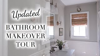 Classic Bathroom Tour | Gray Paint, Crown Molding + Organization