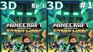 3D VR video Minecraft Story Mode S 2 Ep1 #1 3D SBS VR box google cardboard