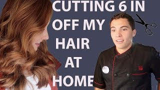 CUTTING 6 INCHES OFF MY HAIR AT HOME AND SURPRISING MY HUBBY (he was shocked)