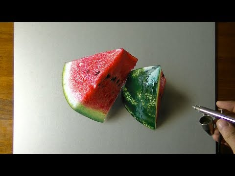 3d art drawing watermelon by marcello barenghi