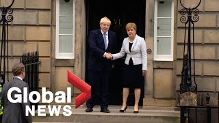 New UK PM Boris Johnson booed on visit to Scotland