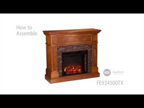 FE9345: Rosedale Stone Look Convertible Electric Media Fireplace Assembly Video