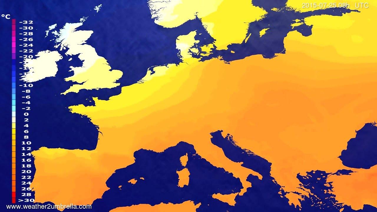 Temperature forecast Europe 2015-07-22