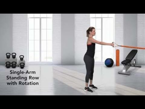 Single-Arm Standing Resistance Band Row with Rotation