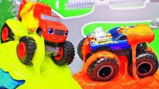 Мультики про машинки Вспыш и Hot Wheels. Состязание в слизи. Мультфильмы для детей с игрушками