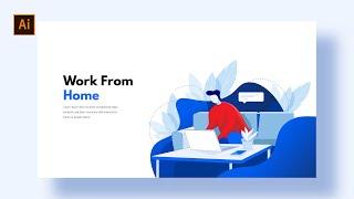 Flat Illustration Working From Home    Adobe Illustrator