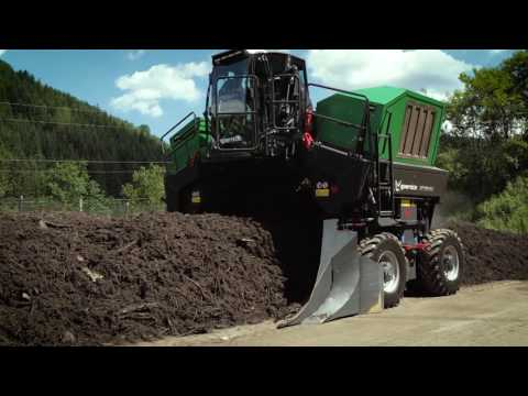 Komptech Topturn X4500 Compost Windrow Turner in Operation