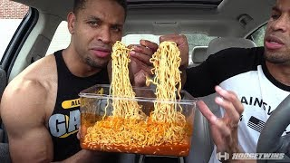 EXTREME SPICY CHEESE RAMEN NOODLE CHALLENGE   MUKBANG @hodgetwins