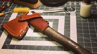 How to make a Leather Hatchet Sheath | Handmade Bushcraft Leather Axe Sheath