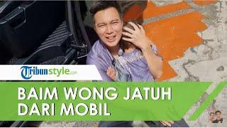 Baim Wong Jatuh saat Turun dari Mobil Sambil Gendong Kiano