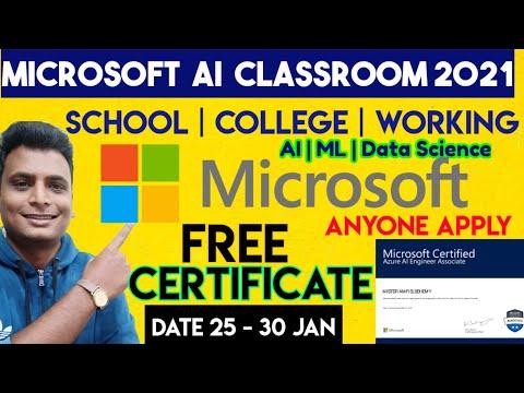 Microsoft Ai classroom 2021| Free Certificate | AI | Machine Learning ...