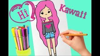 HOW TO DRAW A KAWAII CUTE GIRL TUMBLR STEP BY STEP ♥ КАК РИСОВАТЬ ДЕВОЧКУ КАВАИ