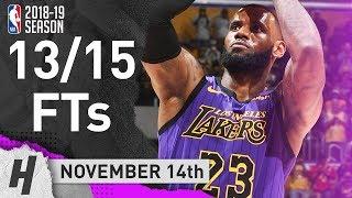 LeBron James All 13/15 Free Throws Highlights | Lakers vs Trail Blazers | November 14, 2018