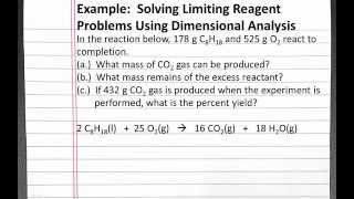 CHEMISTRY 101: Solving Limiting Reagent Problem With Dimensional Analysis