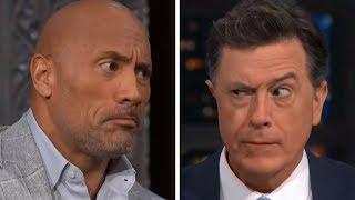 "AWKWARD Stephen Colbert Interview With Dwayne ""The Rock"" Johnson"