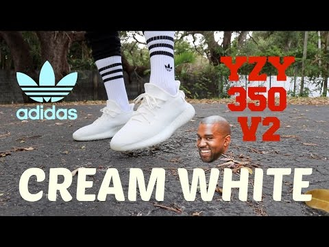 ac5ed7dbae4cb7 Adidas cream white yeezy boost 350 v2 (unboxing on foot review)
