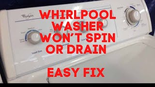 Whirlpool Washer Won't Drain or Spin — FIXED IN UNDER 10 MINUTES