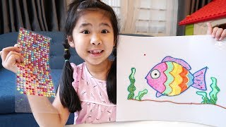 Bé Bún Vẽ Con Cá Cầu Vồng Bằng Đất Sét Xốp  Snow Rainbow Fish Coloring