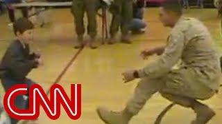 A boy with cerebral palsy walks to his Marine dad for the first time
