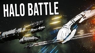 UNSC FLEET vs COVENANT BATTLE GROUP! - Epic Battle!-  Space Engineers!