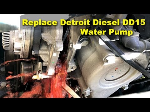 HOW TO REPLACE THERMOSTAT DETROIT ENGINE DD15 - смотреть онлайн на