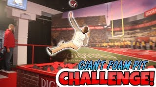 GIANT FOOTBALL FOAM PIT CHALLENGE!! WHO CAN GET THE BEST CATCH??