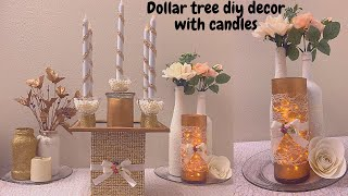 DIY CANDLE CENTERPIECE DECOR- EASY DOLLAR TREE CANDLE DECORATIONS FOR HOME- ROOM DECOR