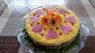 Вкусный Салат на день Влюблённых из Говядины Сыра  и Овощей !!!