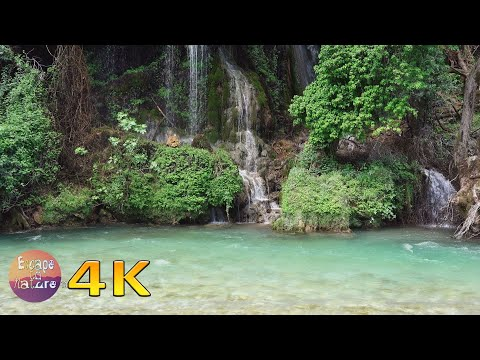 Relaxing waterfall and river sounds - Soothing water sound and bird song - Nature sounds - 4K video