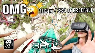 360° Falcon´s Fury 2018 Freefall Tower | VR360 POV on-ride | Busch Gardens Tampa Sky Jump #360video
