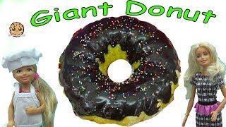 Barbie Kid Cooks Giant Chocolate Krispy Kreme Donut with Rainbow Sprinkles - Toy Video