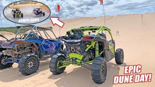 Bogging the Dunes in My New Can-am Turbo RR... Epic Jumps, Water Skipping, Racing, Freedoming!
