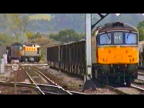 Trains at Westbury Station in 1991 featuring Class 08, 33, 3…