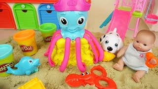 Play doh sea and baby doll sand toys play