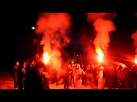 Spotaniczna oprawa Ultras po zmianie nazwy na Stomil Olsztyn