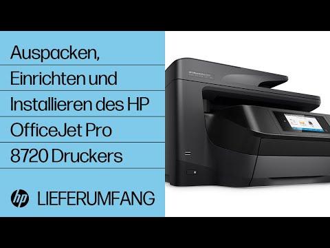 Auspacken, Einrichten und Installieren des HP OfficeJet Pro 8720 Druckers