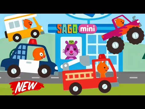 Sago Mini Road Trip - NEW CARS : Police Car, Fire Truck, Bus, Monster Truck | Car Factory & CAR WASH