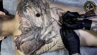 Dragon Tattoo FULL BACK - AMAZING Freehand Skill From Trung Tadashi