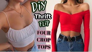 DIY Crop Tops From Old T-shirts| THRIFT FLIPS | Square Neck | Bardot | Long Sleeve | Ruched Top