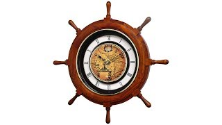 "Voyager Classic Oak Ships Wheel 25"" Round Motion Wall Clock"