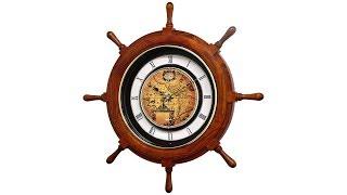 Voyager Classic Oak Ships Wheel Motion Wall Clock