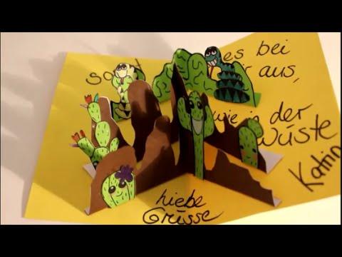 Diy Pop Up Karte Dankeskarte Basteln Auch Fur Kinder Kaktus