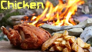 WHOLE ROASTED CHICKEN | Cooking On A Campfire In The Forest