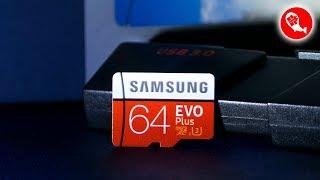 Оригинальная MicroSDXC Карта Памяти SAMSUNG EVO Plus 64GB UHS-3 из Китая | Тесты Скорости
